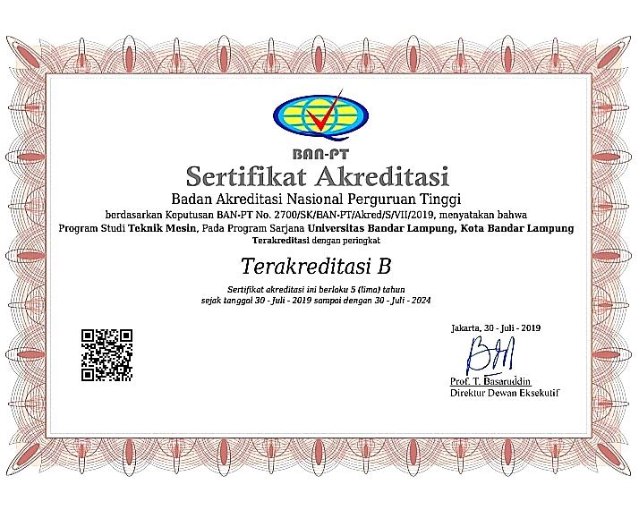 Prodi Teknik Mesin UBL Raih Akreditasi B
