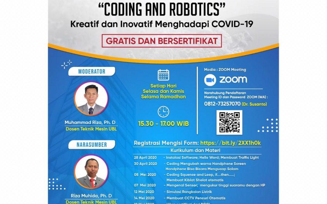 900an Peserta Semangat Ikuti Workshop Online Coding dan Robot UBL